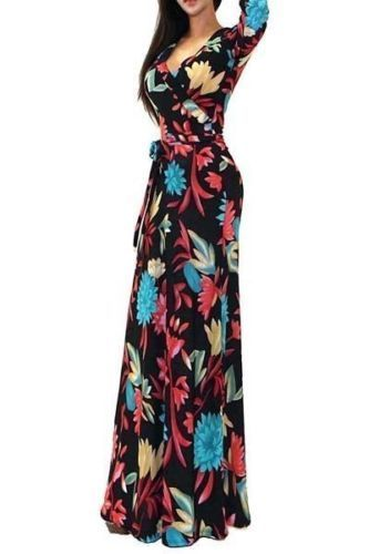 Got Style Floral Multi Color Faux Wrap 3/4 Sleeve Casual Maxi Dress