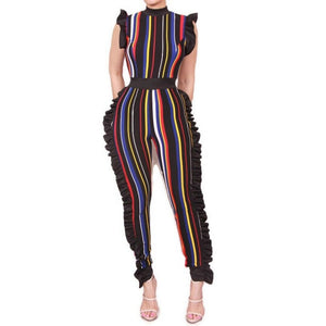 Stripe Multi Color Sexy Bodycon Casual Ruffle Jumpsuit