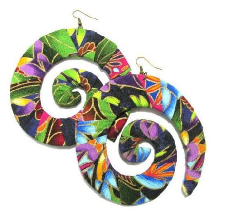 Floral Fabric Wrapped Swirl Handmade Multi Statement Dangle Wood Earrings