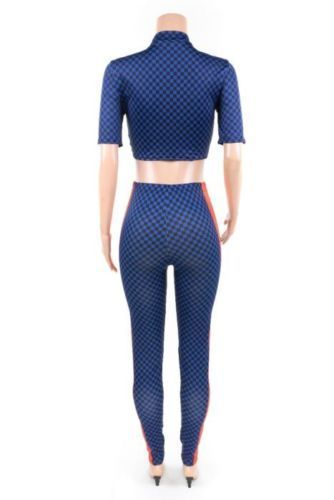 Royalty Blue Checkered Casual Sexy Bodycon Activewear Suit