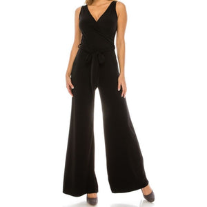 Black Solid Wide Leg Sleeveless Casual Jumpsuit