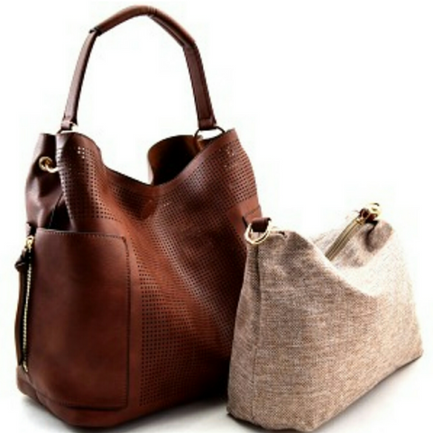 Le Miel Brown Laser Cut Detail Hobo Handbag Set