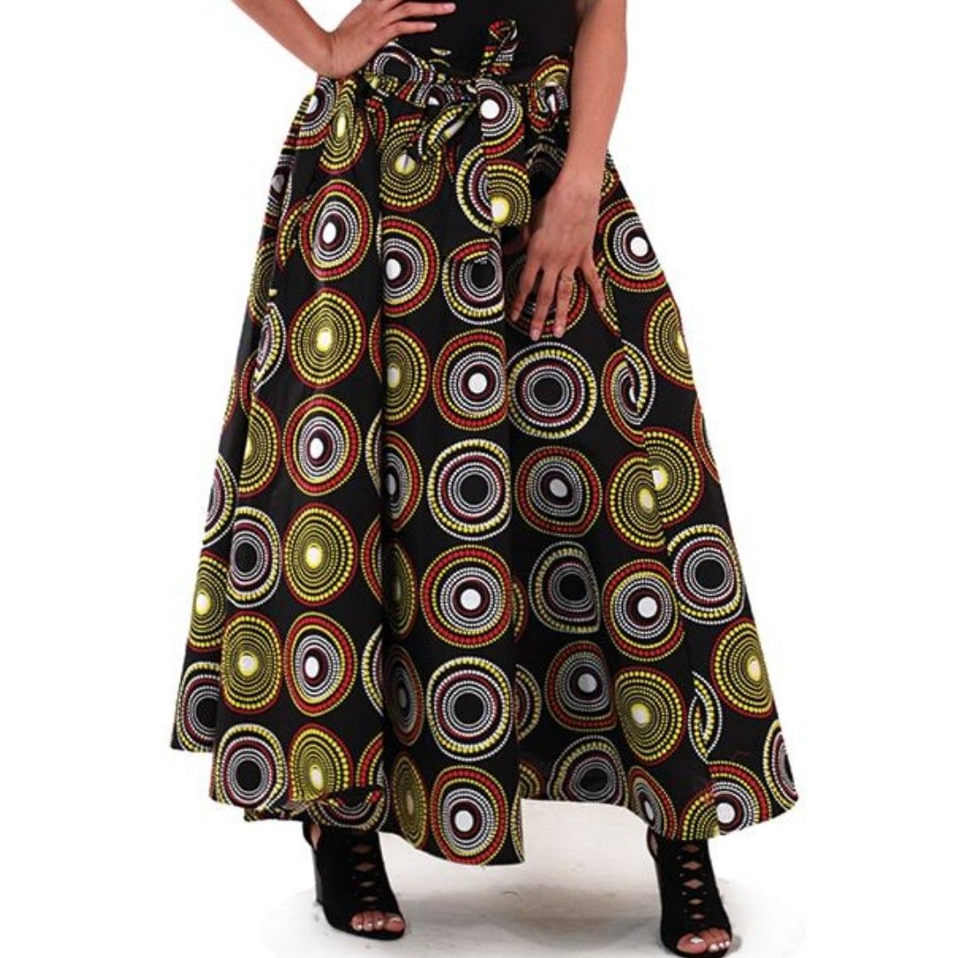 Black African Multi Print Maxi Skirt with Matching Headwrap