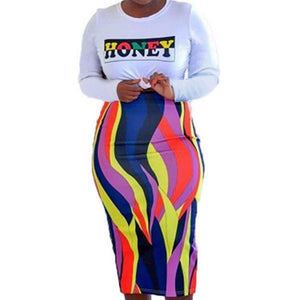 Honey Flames Long Sleeve Top Multi Color Stripe Plussize Skirt Set