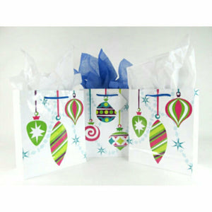 Assorted Christmas Ornaments Paper Party Favor Wedding Gift Handle Bags  - Set of 9