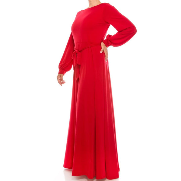 Red Solid Bell Long Sleeve Plussize Maxi Dress
