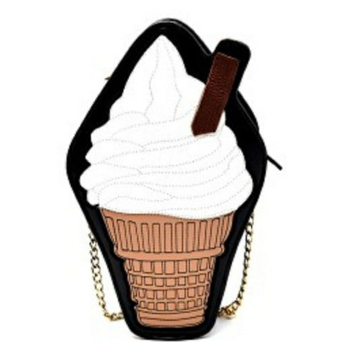 Vanilla Ice Cream Cone Cross Body Novelty Handbag