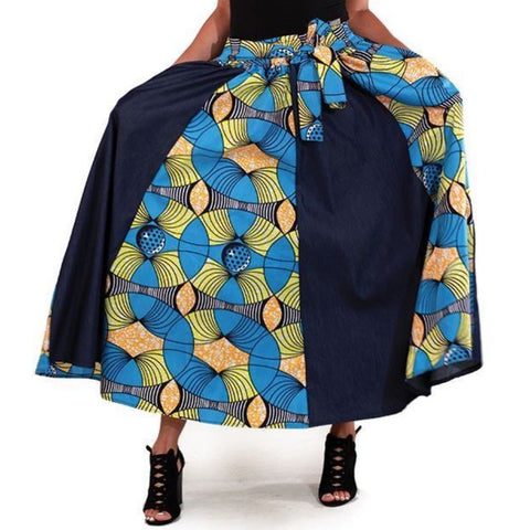 Blue Denim African Multi Turquoise Print Maxi Skirt with Matching Headwrap