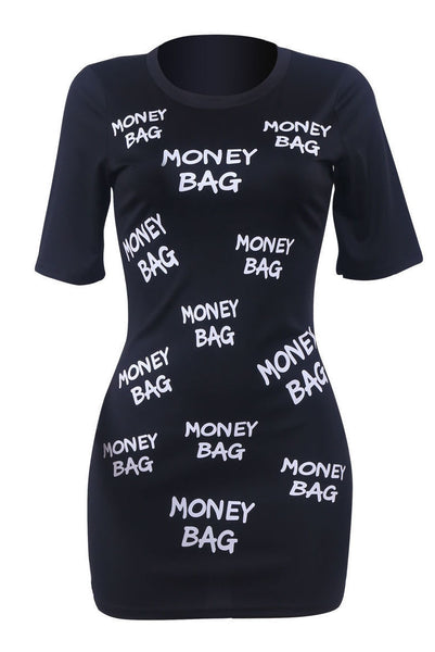 Money Bag Graphic Print Bodycon Short Sleeve Black Tunic Dress