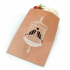 Love Birds Cake Candy Treat Wedding Party Kraft Paper Favor Bags - Set of 180