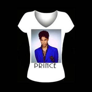 Purple Rain PRINCE Fitted White V Neck Tshirt
