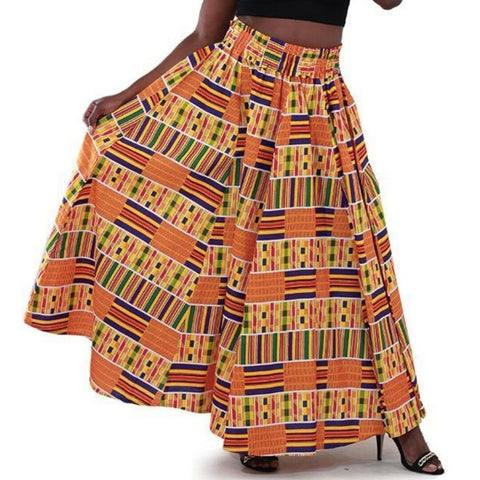 Kente African Multi Color Maxi Skirt with Matching Headwrap