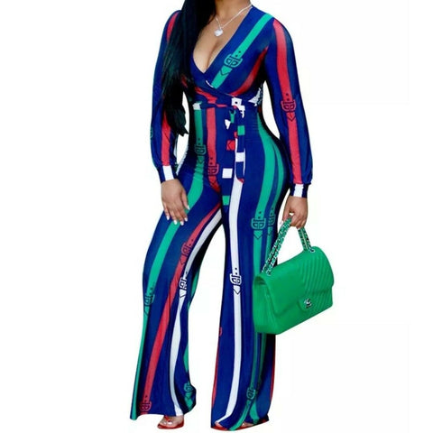 Royal Blue Belt Buckle Fashion Wide Leg Long Sleeve Casual Jumpsuit