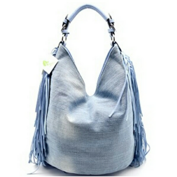 Denim Hobo Fringe Handbag with Crossbody Strap