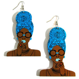 Queen Blue Turban Statement Dangle Wood Earrings