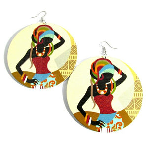 African Roots Natural Statement Dangle Wood Earrings