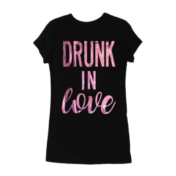 DRUNK In Love Black Fitted Tshirt