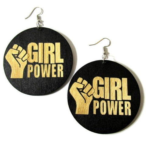 Girl Power Fist Statement Dangle Engraved Wood Earrings
