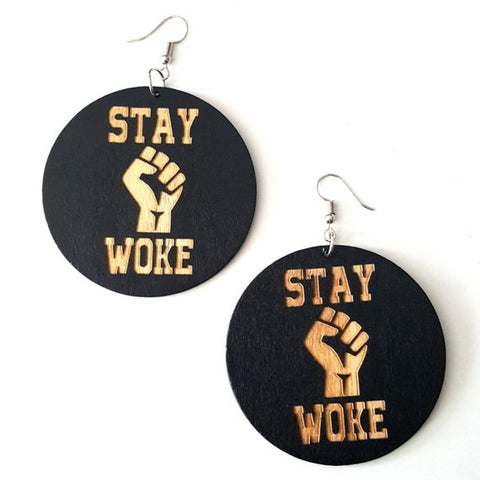 STAY WOKE Power Fist Statement Dangle Engraved Wood Earrings