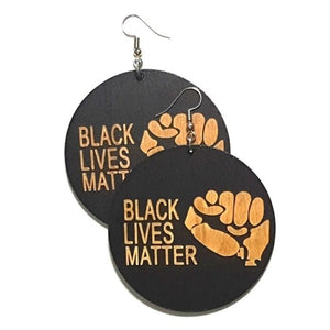 BLM Power Fist Statement Dangle Engraved Wood Earrings