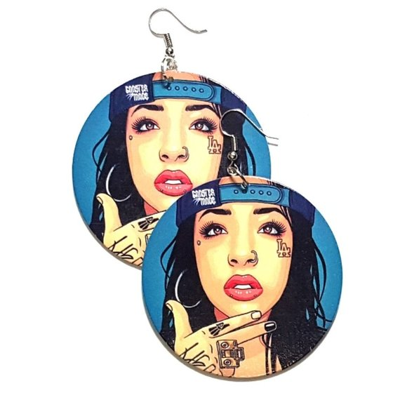 LA Gangster Made Statement Dangle Wood Earrings
