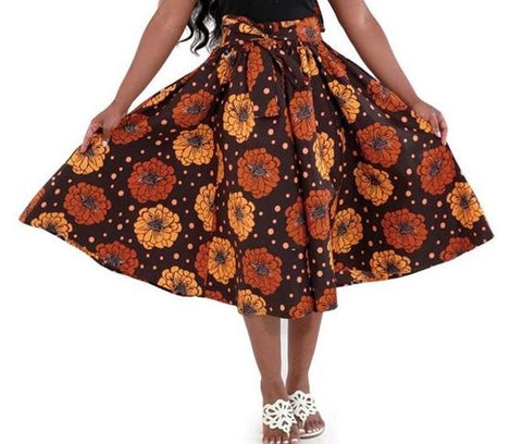 Brown Daisies Flare African Skirt with Matching Headwrap