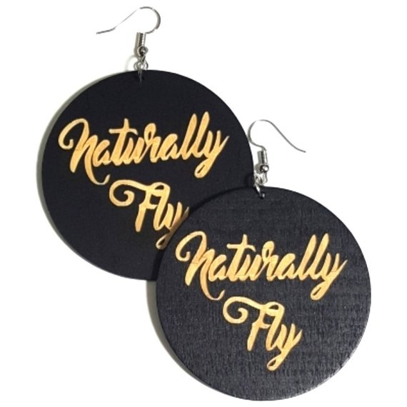 Naturally Fly Statement Dangle Engraved Wood Earrings