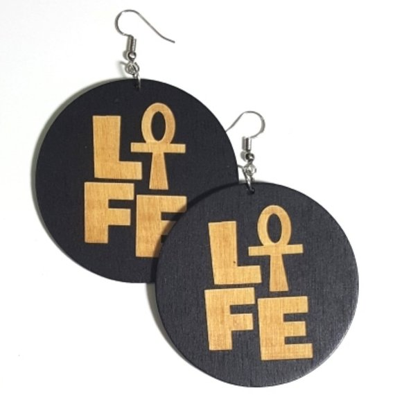 LIFE Statement Dangle Engraved Wood Earrings