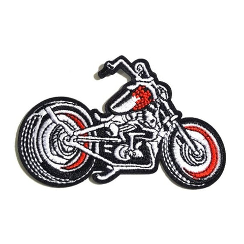 Motorcycle Red Black Iron-On Patch