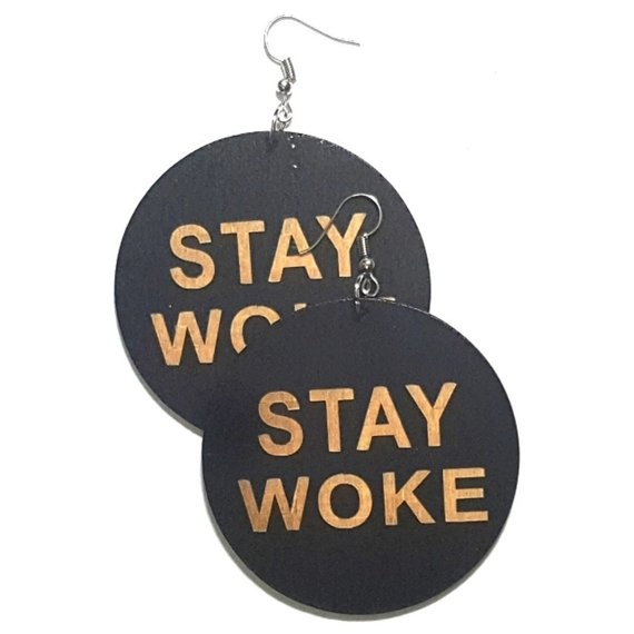 STAY WOKE Statement Dangle Engraved Wood Earrings