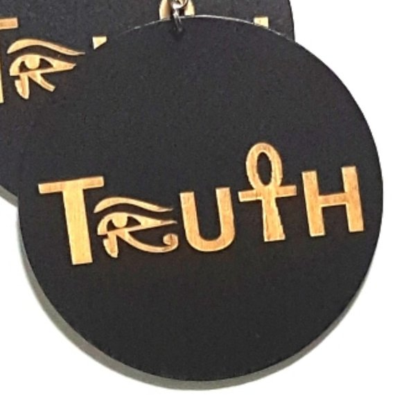 TRUTH Symbol of Life Statement Dangle Engraved Wood Earrings
