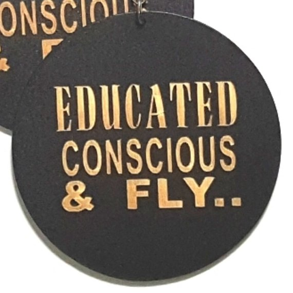 Educated Conscious Fly Statement Dangle Engraved Wood Earrings