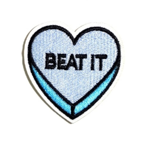 BEAT IT Blue Heart Expression Iron-On Patches