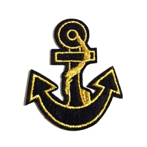 Black Gold Anchor Iron-On Patch