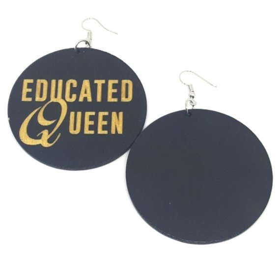 Educated Queen Statement Dangle Engraved Wood Earrings