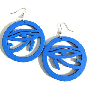Evil Eye Natural Statement Dangle Wood Earrings