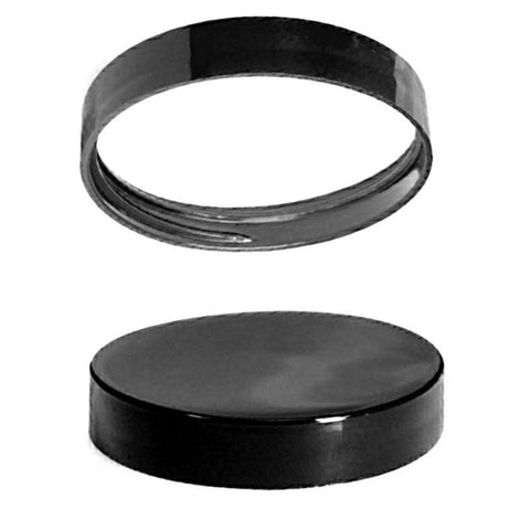 8oz Black Lined Jar Caps - Cap Size: 70-400 - Set of 25