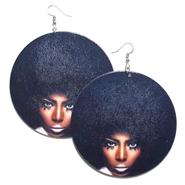 Melanin Magic Style Grace Statement Dangle Wood Earrings