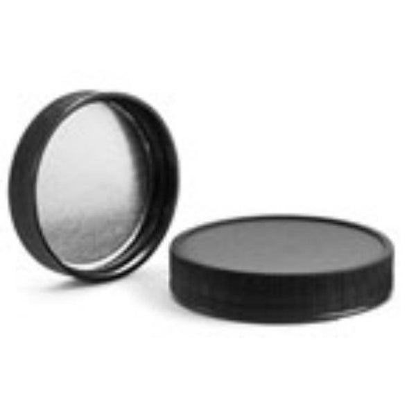 8oz Black Ribbed Silver Lined Jar Caps - Cap Size: 89-400 - Set of 25