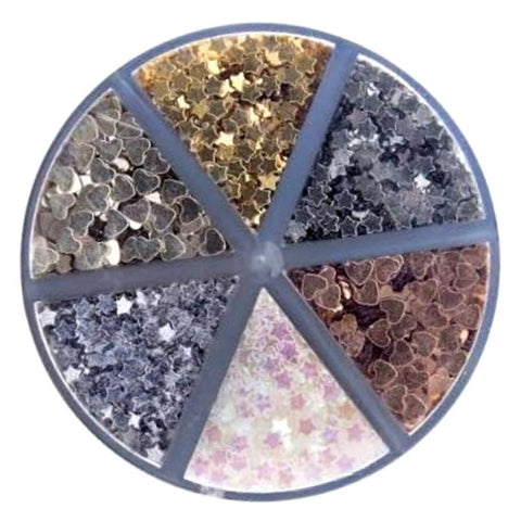 Darice™ HEARTS STARS Metallic Color Caddy Glitter