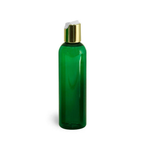 8oz Green Plastic Bottles with Gold Disc Dispensing Caps - Set of 4