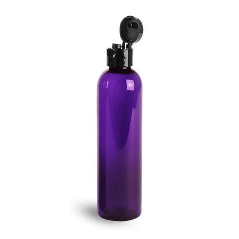 8oz Purple Plastic Bottles with Black Flip Dispensing Caps - Set of 12
