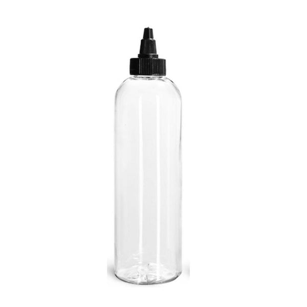 16oz Clear Plastic Bottles with Black Black Twist Top Dispensing Caps - Set of 5