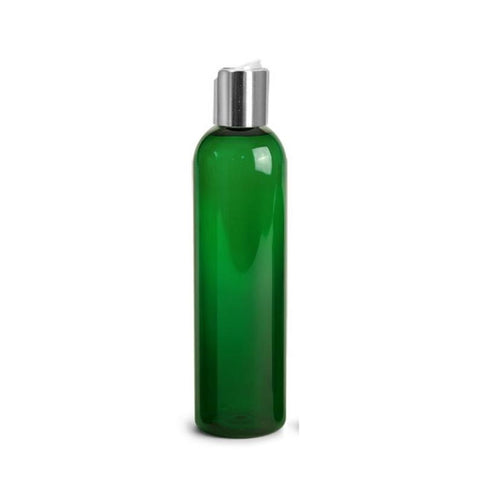 8oz Green Plastic Bottles with Silver Disc Dispensing Caps - Set of 12