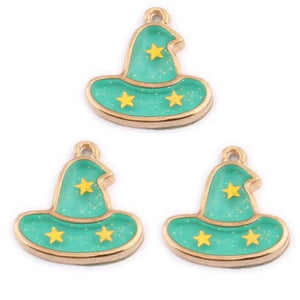 Halloween Witch Wizard Hat Green Gold Charms
