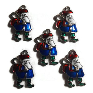 Santa with Sack Blue Jewelry Bracelet Necklace Charms