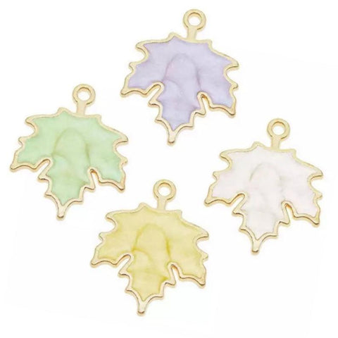 Gold Multi Color Pearl Enamel Leaf Jewelry Bracelet Necklace Charms