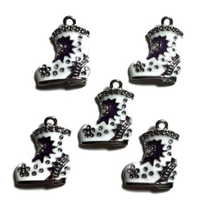 Santa Boot Jewelry Bracelet Necklace Charms | Purple White Boot Charms