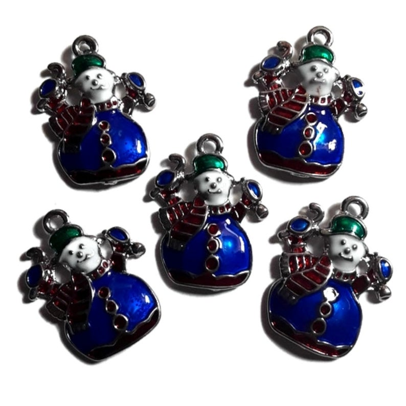 Snowman Jewelry Bracelet Necklace Charms | Blue Snowman Charms