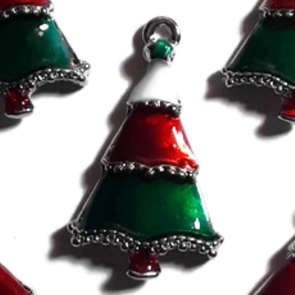 Christmas Tree Jewelry Bracelet Necklace Charms | Green White Red Christmas Tree